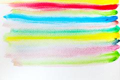Colorful stripes watercolor paint on canvas. Abstract background. Super high  - stock photo