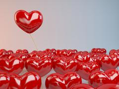 Group of red hearts balloons - stock illustration