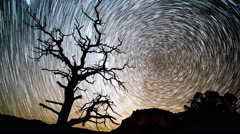 Time Lapse of Star Trail Forming in the Utah Desert Stock Footage