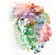 Watercolor painting of lion. Abstract, colorful art. - stock photo