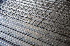 reinforced concrete slab sheet metal formwork - stock photo