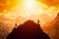 Two men running race to the top of the mountain. Competition, rivals, challen Stock Illustration
