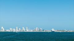 Wide Shot South American Resort City of Punta del Este Uruguay Stock Footage