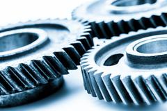 Gears, grunge cogwheels, real engine elements on white. Heavy industry - stock photo