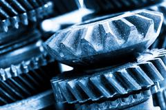 Gears, grunge cogwheels, real engine elements close-up. Heavy industry - stock photo