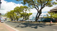 Papeete Tahiti City Street Traffic with Cruise Ships in Background Stock Footage