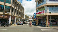 Papeete Tahiti Busy City Center Shopping Scene Buildings with People Stock Footage