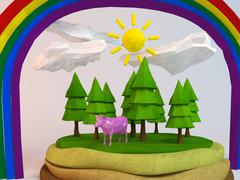 3d cow inside a low-poly green scene with sun, trees, clouds and a rainbow - stock illustration