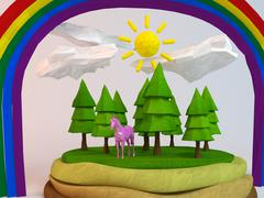 3d horse inside a low-poly green scene with sun, trees, clouds and a rainbow Stock Illustration