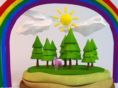 3d dog inside a low-poly green scene with sun, trees, clouds and a rainbow - stock illustration