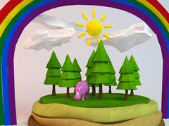 3d hippo inside a low-poly green scene with sun, trees, clouds and a rainbow Stock Illustration