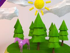 3d horse inside a low-poly green scene with sun, trees, clouds and a rainbow - stock illustration