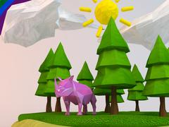 3d rhinoceros inside a low-poly green scene with sun, trees, clouds and a rai - stock illustration