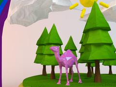 3d camel inside a low-poly green scene with sun, trees, clouds and a rainbow - stock illustration