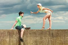 hipster couple in love playing flirting outdoor - stock photo