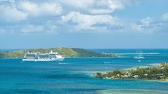 Bora Bora Island with Visiting Cruise Ships and Boats in Lagoon Stock Footage