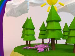 3d scorpion inside a low-poly green scene with sun, trees, clouds and a rainb Stock Illustration