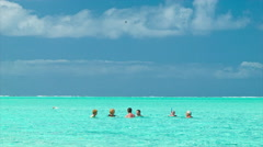 Bora Bora People Swimming in Lagoon Closeup in French Polynesia Stock Footage