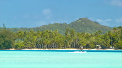 Bora Bora People on Jet Skis in Tropical Island Setting Stock Footage