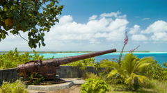 Bora Bora Island WWII US Canons French Polynesia South Pacific - stock footage