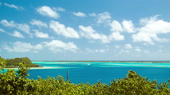 Bora Bora South Pacific Island Wide Lagoon Establishing Scene Stock Footage