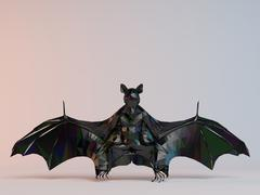 3D black low poly (bat) - stock illustration