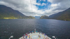 Dusky Sound Timelapse from Cruise Ship in New Zealand Fjords - stock footage