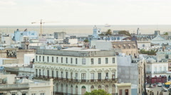 Montevideo Old Buildings Near the City Port with Atlantic Ocean - stock footage