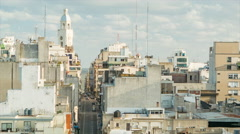 Montevideo Narrow City Center Side Streets with Cars Driving - stock footage