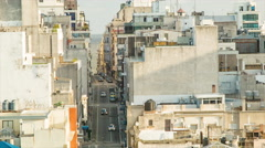 Montevideo Narrow City Center Side Streets Closeup with Cars Driving - stock footage