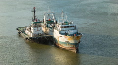 Fishing and Tug Boats Medium in Port of Montevideo Uruguay - stock footage
