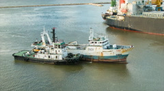 Fishing and Tug Boats Wide in Port of Montevideo Uruguay Stock Footage
