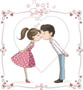 Couple Kissing Vector Cartoon Stock Illustration