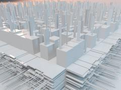 White complex city with reflection and many details. 3d futurist city with bu Stock Illustration