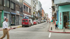 Local Activity on Montevideo City Street Corner Stock Footage