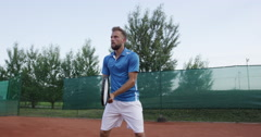 4K Tennis Player Scores A Point And Expresses Achievement Stock Footage
