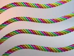 twisted multicolored plastic candy cables 3d - stock illustration