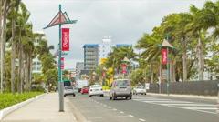 Fiji Main Street and Traffic Through Center of Suva - stock footage