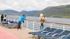 Tourists Cruise Ship Passengers Viewing Strait of Magellan Stock Footage