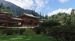 Amazing Byodo buddhist temple and garden - Oahu, Hawaii Stock Footage