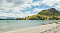 Tauranga NZ Harbour Bay with Mount Maunganui and Beach Stock Footage