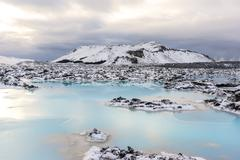Geothermal Power Discharge Ponds Stock Photos