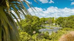 Dunedin NZ Overlooking the Queens Gardens Stock Footage