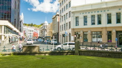 Dunedin NZ City Center Street Scene Stock Footage