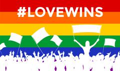 Lovewins LGBT Cheering Crowd - stock illustration