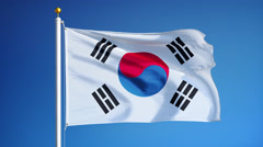 South Korea flag in slow motion seamlessly looped with alpha - stock footage