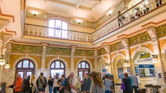 Dunedin NZ Railway Station Building Interior Low Angle Stock Footage