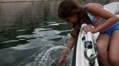 Little beautiful girl goes on boat, Adriatic Sea - stock footage