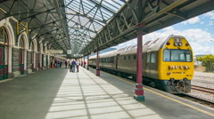Dunedin NZ Railway Station Platform with Train Stock Footage