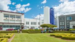 Dunedin NZ Cadbury Factory Building Exterior Wide Stock Footage